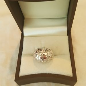 size 6 Sterling Carved Dome Ring By Elle